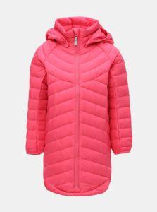 Ružová dievčenská neónová funkčná páperová bunda s kapucňou na patentky Reima Filp