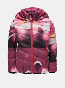 Fialová dievčenská funkčná páperová vzorovaná bunda s kapucňou na patentky Reima Senja