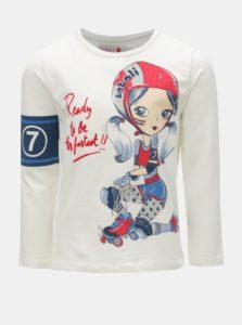 Krémové dievčenské tričko s potlačou korčuliarky BÓBOLI