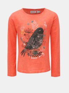 Červené dievčenské tričko s potlačou kvetín a vtáčika BÓBOLI