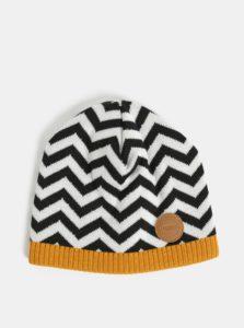 Bielo–čierna vlnená vzorovaná čiapka Reima Kolmio