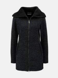 Tmavosivý dámsky melírovaný kabát s rolákom killtec