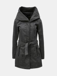 Tmavosivý dámsky melírovaný kabát s veľkou kapucňou killtec