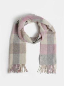 Sivo-ružový dásmky kockovaný vlnený šál so strapcami GANT