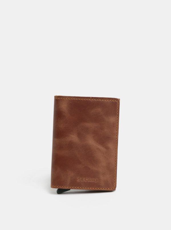 Hnedá kožená peňaženka s hliníkovým puzdrom s RFID Secrid Slimwalet