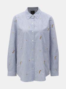 Bielo–modrá pruhovaná košeľa s výšivkami Scotch & Soda