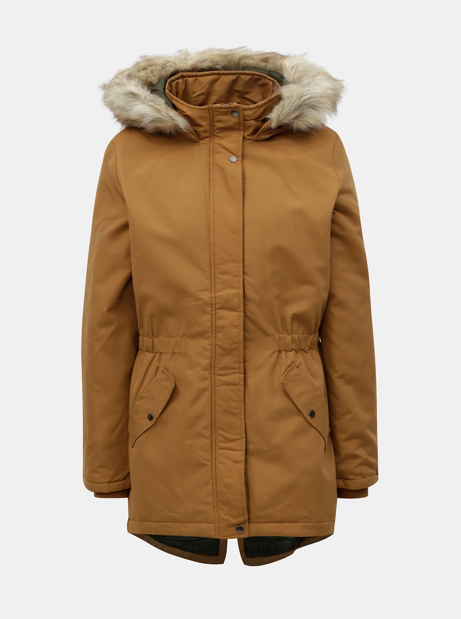 f96539352da4 Hnedá dlhá zimná bunda Jacqueline de Yong Star
