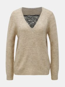 Béžový melírovaný sveter s čipkou ONLY Miramar