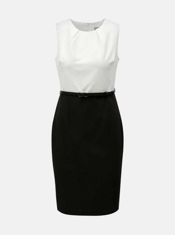 Bielo-čierne puzdrové šaty s odnímateľným opaskom Dorothy Perkins Petite