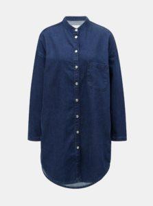 Tmavomodré košeľové rifľové šaty s náprsným vreckom Selected Femme Stef