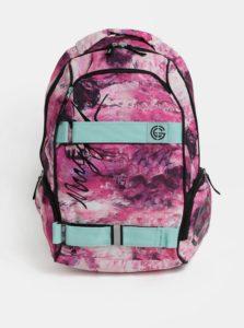 Ružový vzorovaný batoh s mentolovými detailmi Nugget 25 l