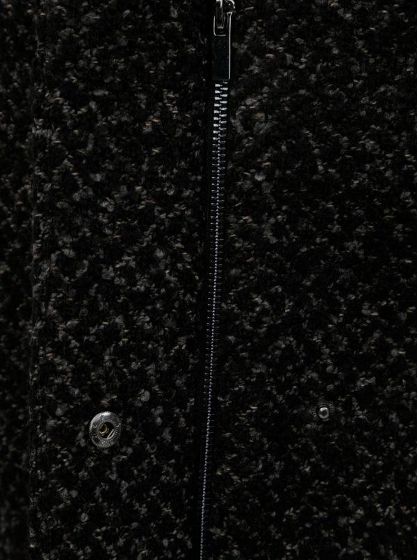 Čierny melírovaný kabát s prímesou vlny VILA
