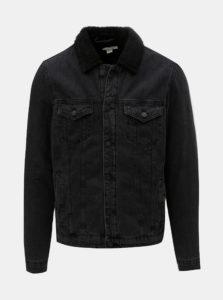Čierna rifľová bunda s umelým kožúškom ONLY & SONS Louis