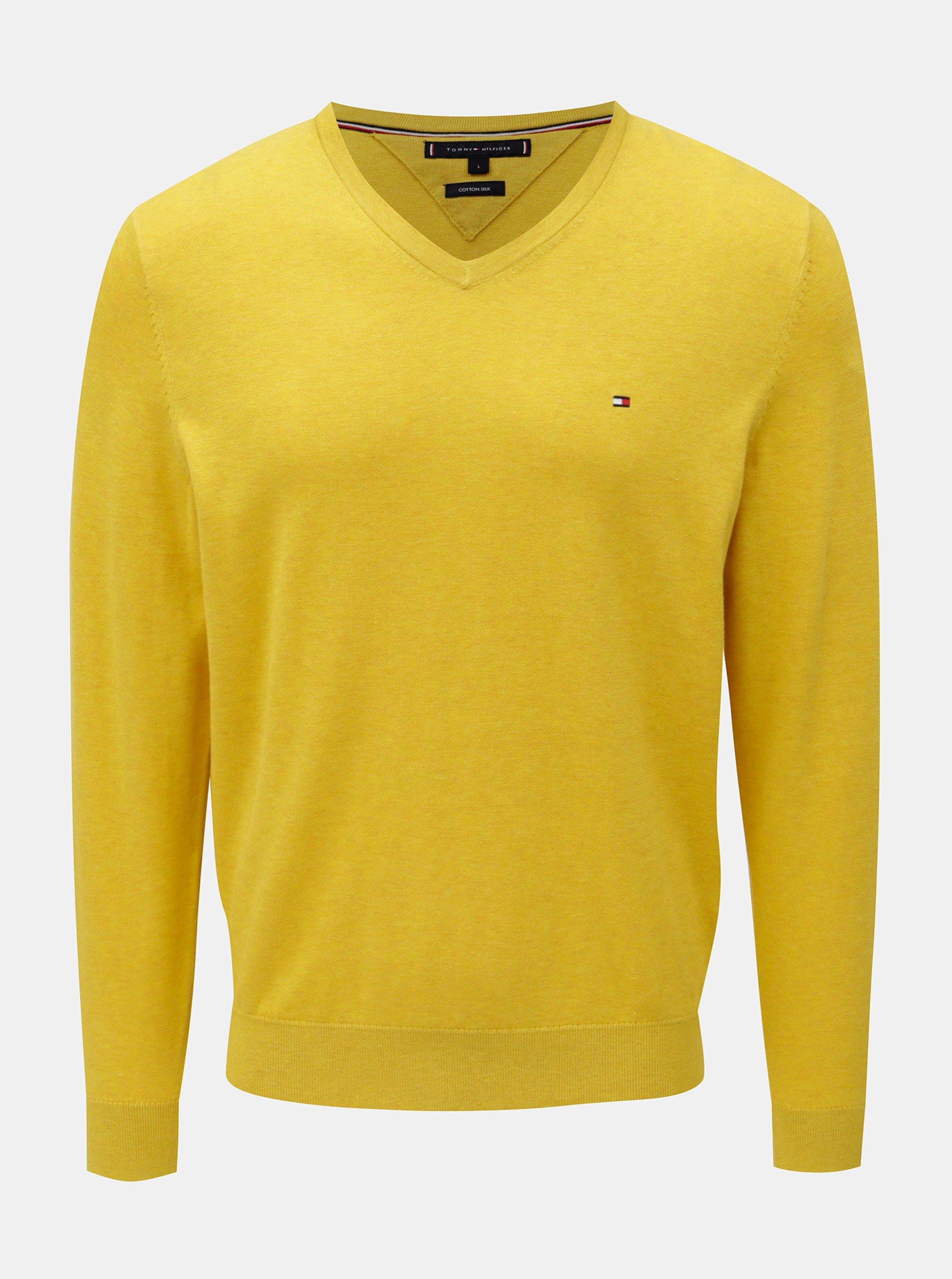 30c1779cf3 Žltý tenký sveter s prímesou hodvábu Tommy Hilfiger