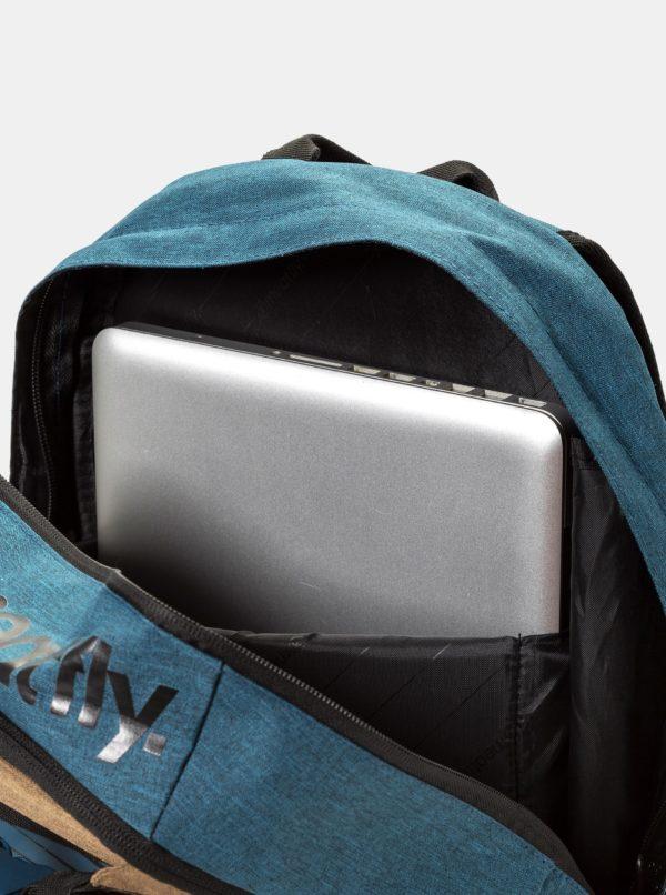 Čierno-modrý batoh s potlačou a peračníkom Meatfly 20 l