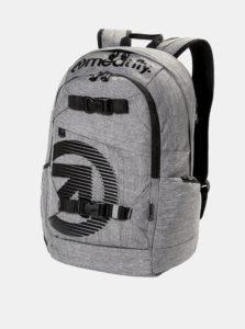 Sivý melírovaný batoh s potlačou a peračníkom 2v1 Meatfly 20 l