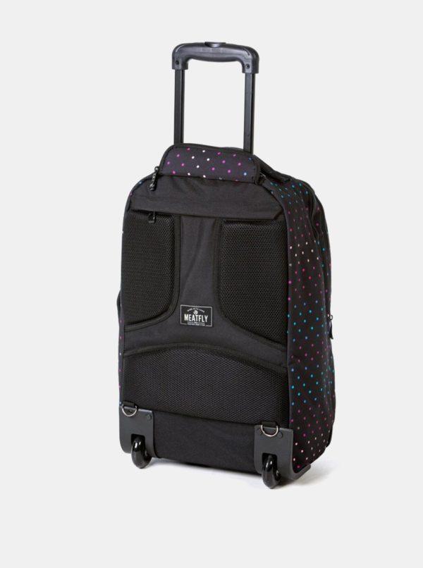 Čierna bodkovaná cestovná taška/batoh na kolieskach Meatfly 40 l