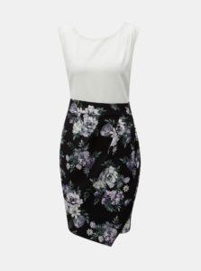 Bielo-čierne kvetované šaty so zaväzovaním Apricot