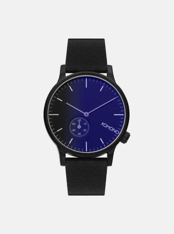 Pánske hodinky s čiernym koženým remienkom Komono Winston Subs