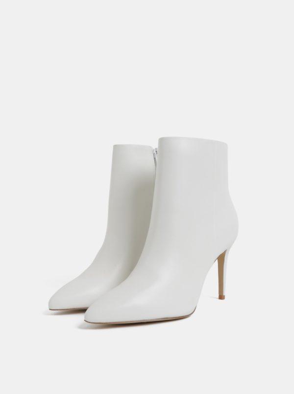 Biele kožené členkové topánky na ihličkovom podpätku ALDO