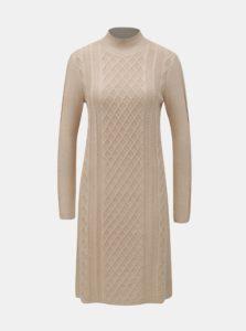 Béžové svetrové šaty so stojačikom Yest