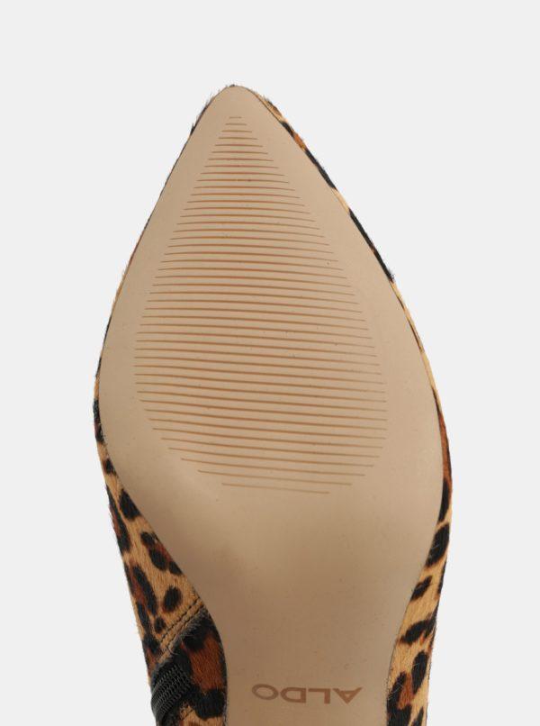 Hnedé členkové kožené topánky s leopardím vzorom ALDO  ba59974d546