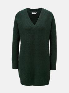 Tmavozelený sveter s predĺženou dĺžkou a véčkovým výstrihom Noisy May Sati