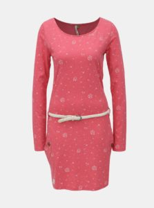 Červené melírované šaty so vzorom a dlhým rukávom Ragwear Talona Organic