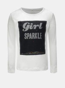 Biele dievčenské tričko s dlhým rukávom a flitrami Name it