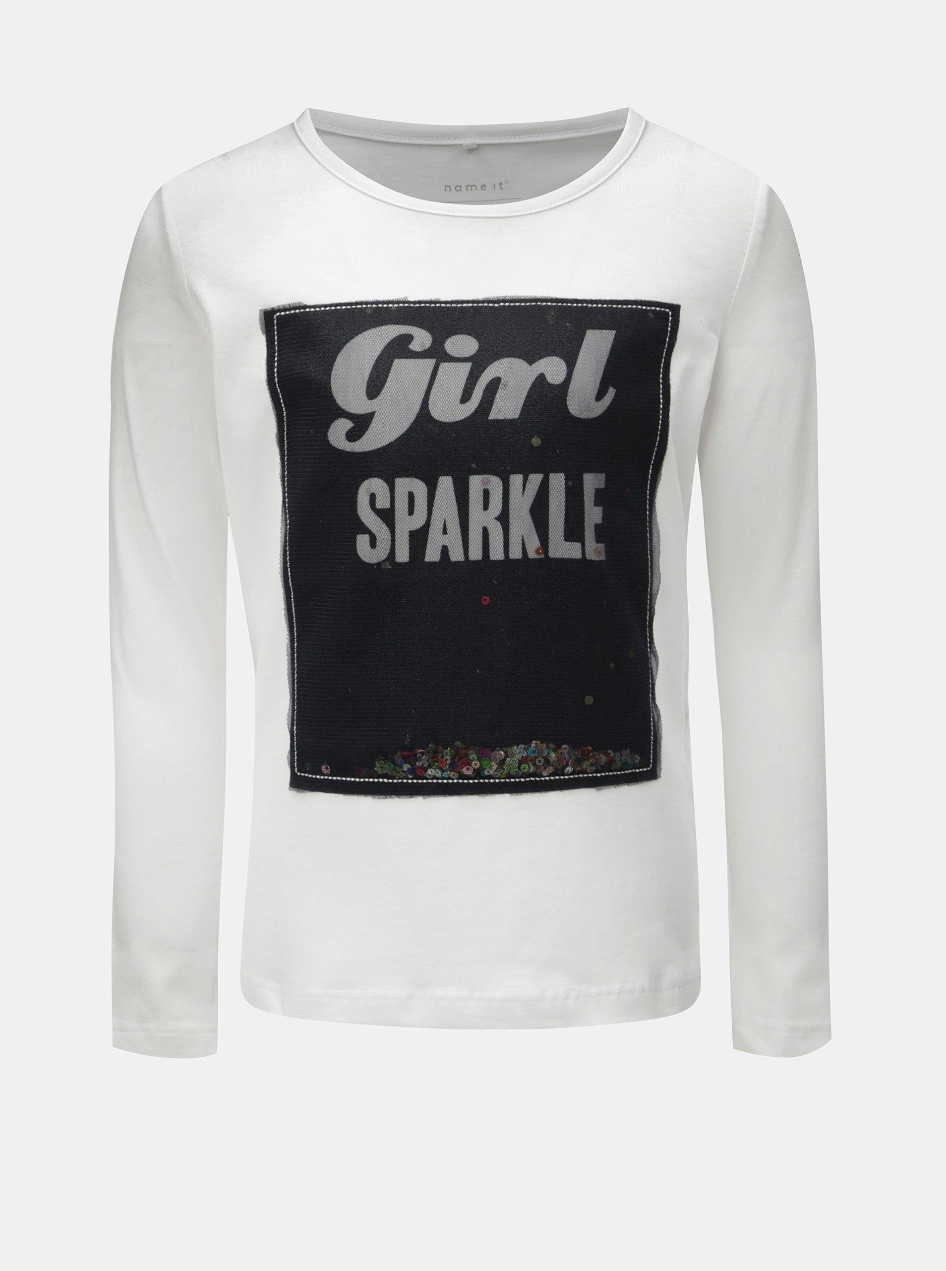 6a0527febc8a Biele dievčenské tričko s dlhým rukávom a flitrami Name it