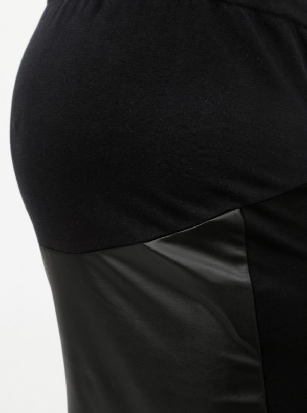 Čierna koženková tehotenská sukňa Mama.licious