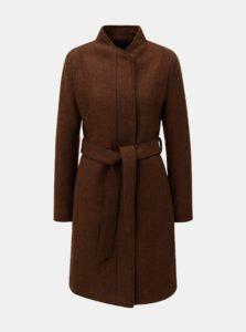 Hnedý vlnený kabát so zaväzovaním Selected Femme Dea