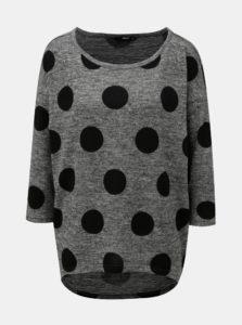 Tmavosivý bodkovaný melírovaný sveter ONLY