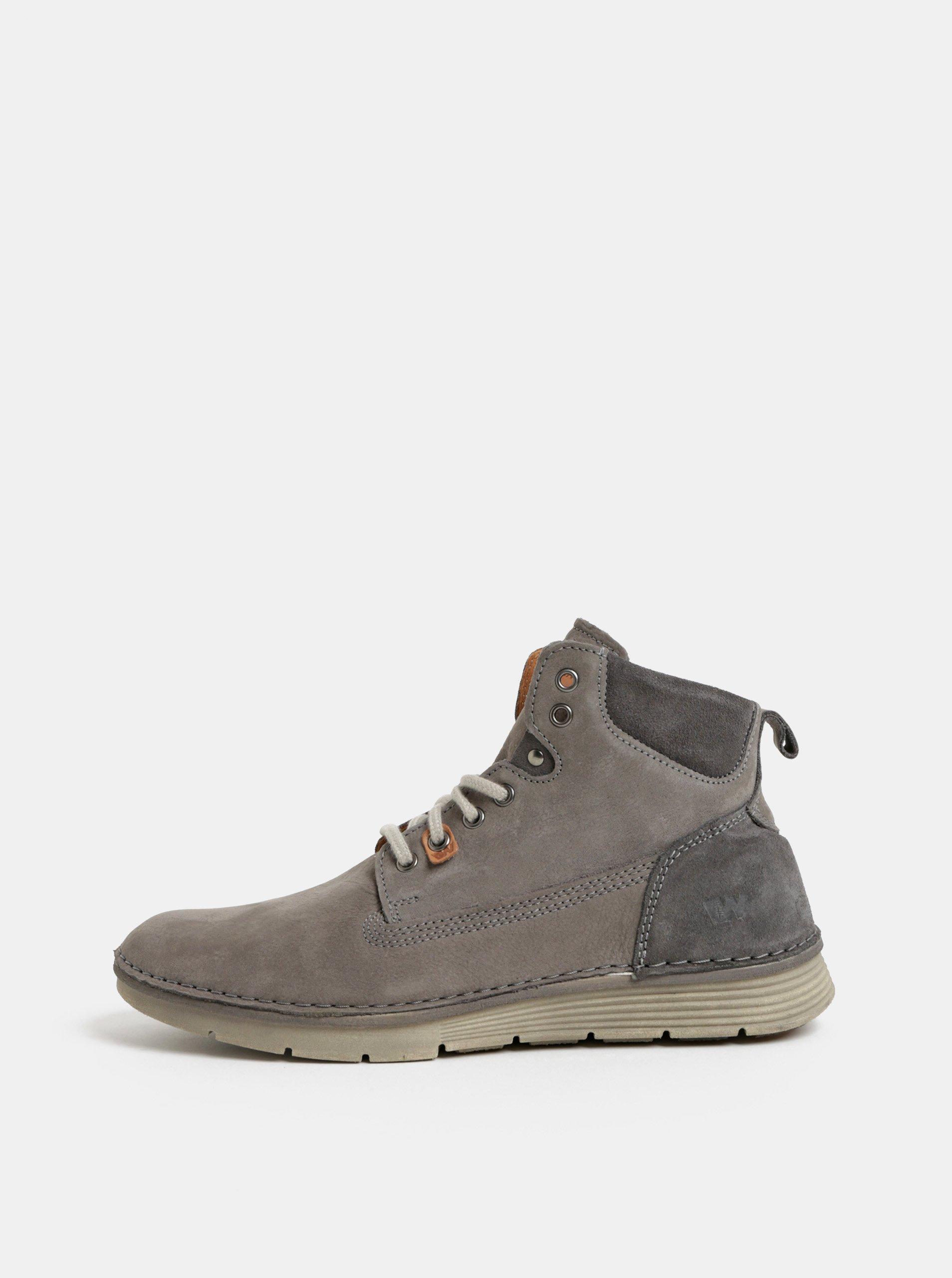 Sivé pánske kožené členkové topánky Weinbrenner  95f81cbea32