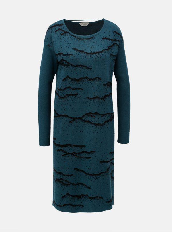 Petrolejové vzorované svetrové šaty SKFK Euba