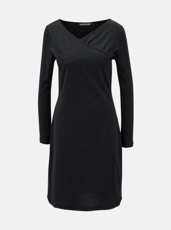 Čierne šaty s prekladaným výstrihom SKFK Irama