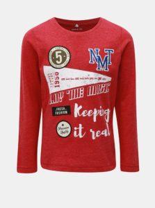 Červené melírované tričko s dlhým rukávom a nášivkami Name it Modion