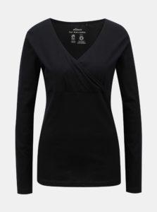 Čierne tričko s prekladaným výstrihom SKFK Hamazortzi