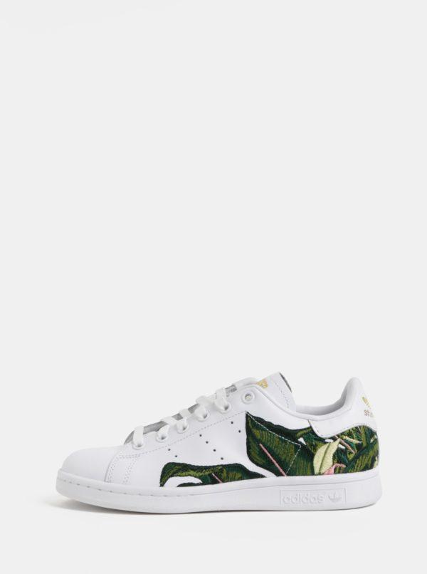 Biele dámske kožené tenisky s výšivkou adidas Originals Stan Smith W
