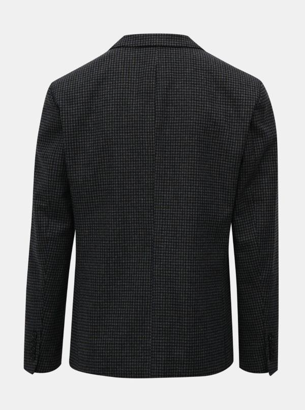 Sivo–čierne kockované sako s prímesou vlny Selected Homme