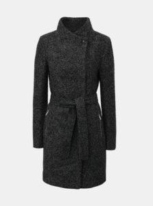 Čierno–sivý melírovaný kabát s opaskom a prímesou vlny VERO MODA Boos