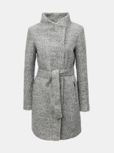 Sivý melírovaný kabát s opaskom a prímesou vlny VERO MODA Boos