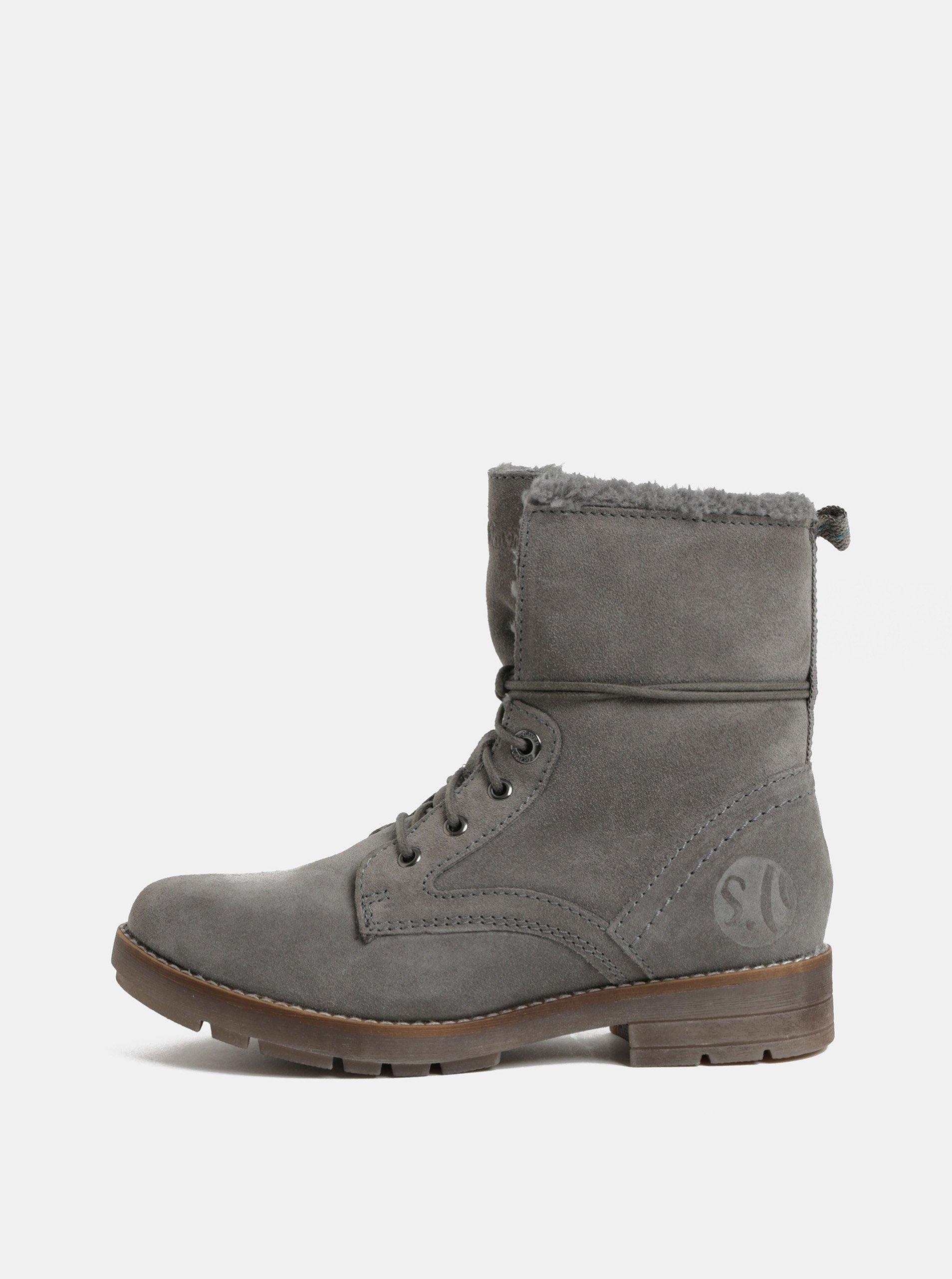 602cbcb5df Sivé dámske zimné semišové členkové topánky s.Oliver