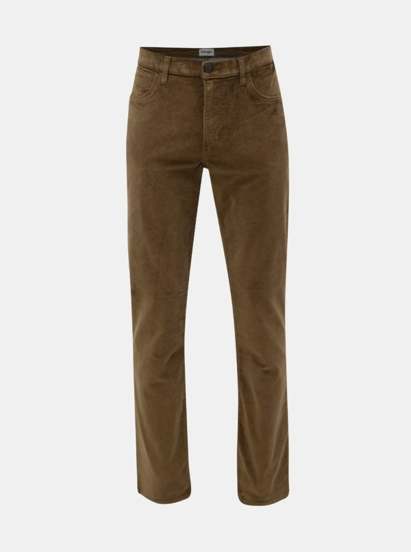 Kaki pánske menčestrové nohavice Wrangler Arizona