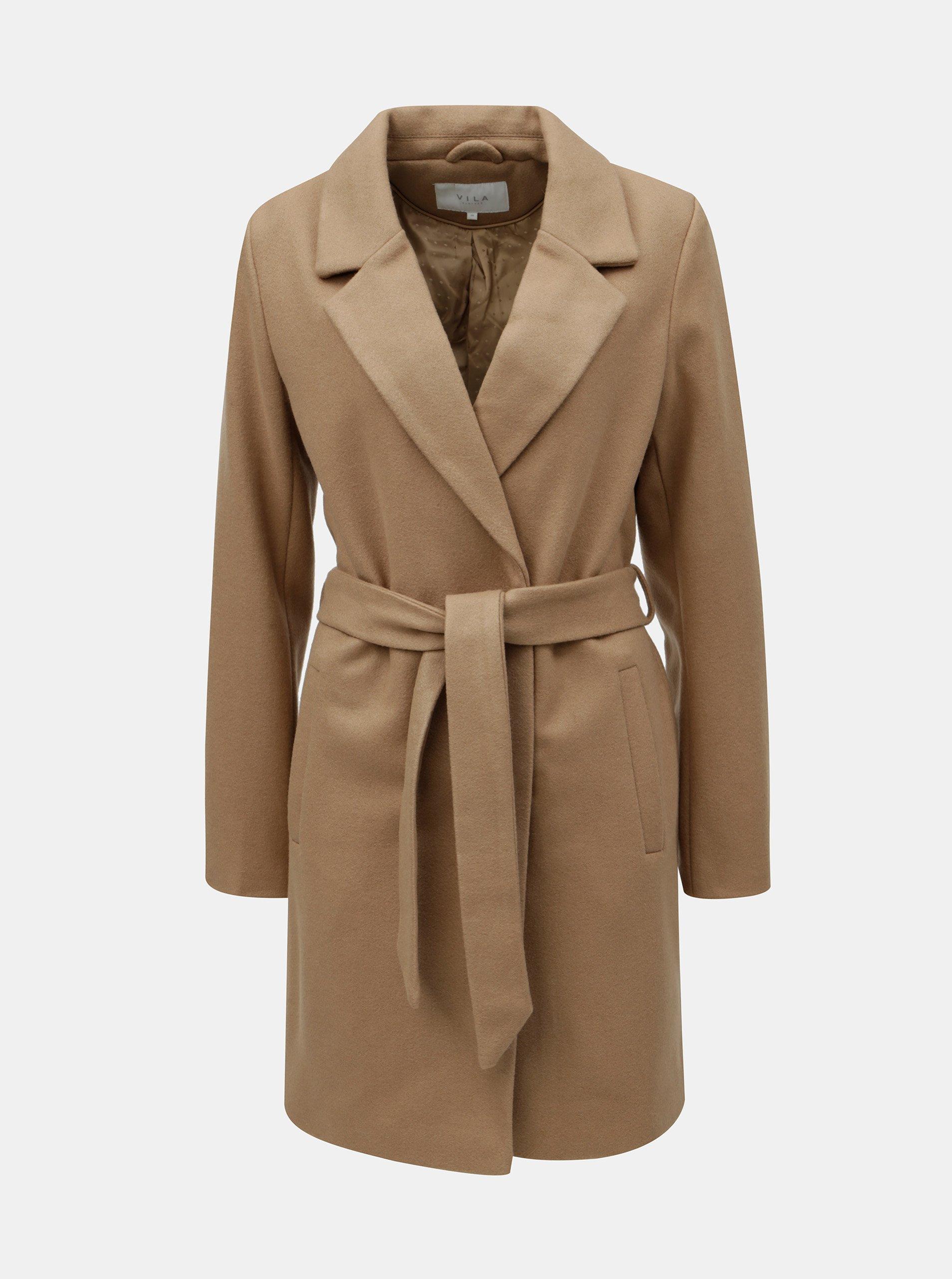 Hnedý kabát s prímesou vlny VILA  adcbd755d57