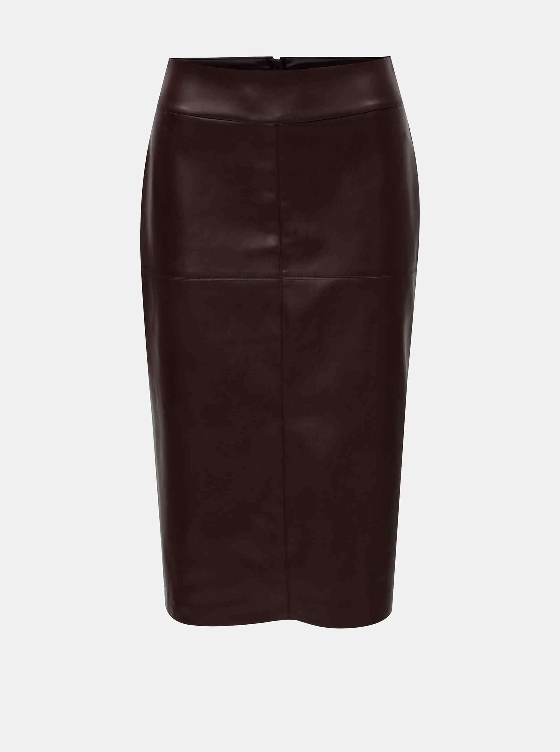 dcc66b744e65 Vínová koženková puzdrová sukňa s rozparkom Dorothy Perkins