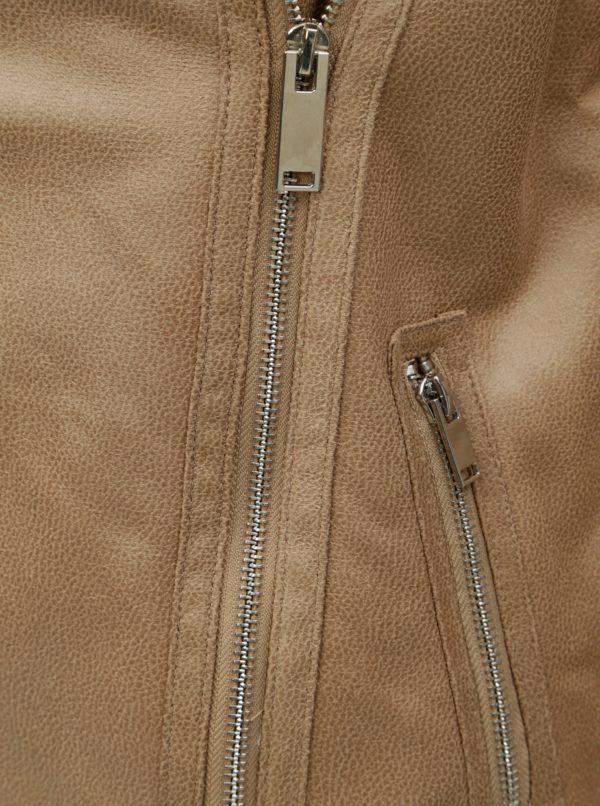 Béžová koženková bunda s umelou kožušinkou Dorothy Perkins  537c8eb3881