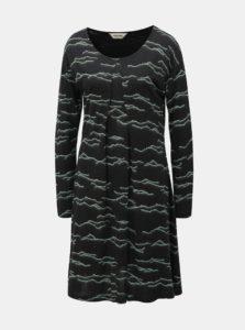 Mentolovo–čierne vzorované šaty SKFK