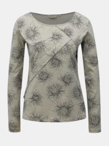 Sivé vzorované tričko s dlhým rukávom SKFK