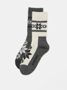 Balenie dvoch párov zimných ponožiek v krémovej a sivej farbe s prímesou vlny Kari Traa